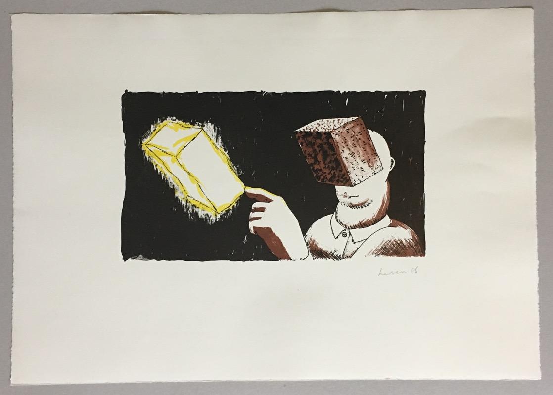 dirk larsen blind man s vision farblithographie 1986. Black Bedroom Furniture Sets. Home Design Ideas