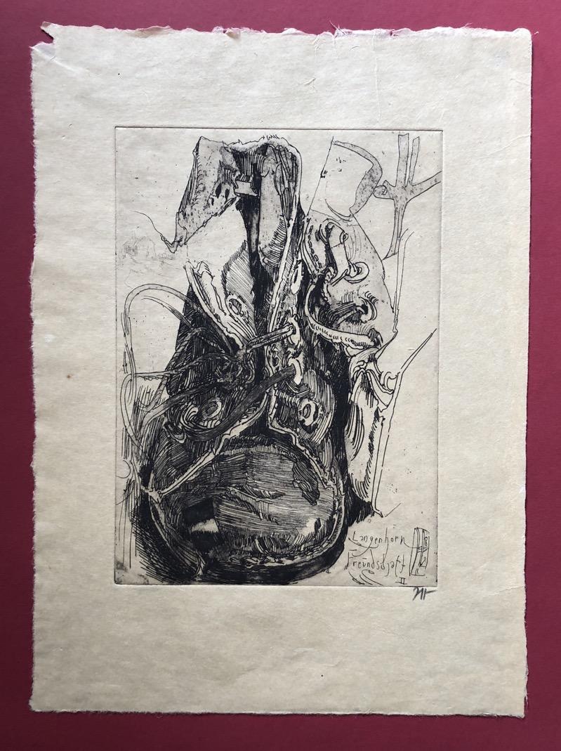 Details about Horst Janssen, Schuh »Freundschaft II«, Radierung, 1982, handsigniert