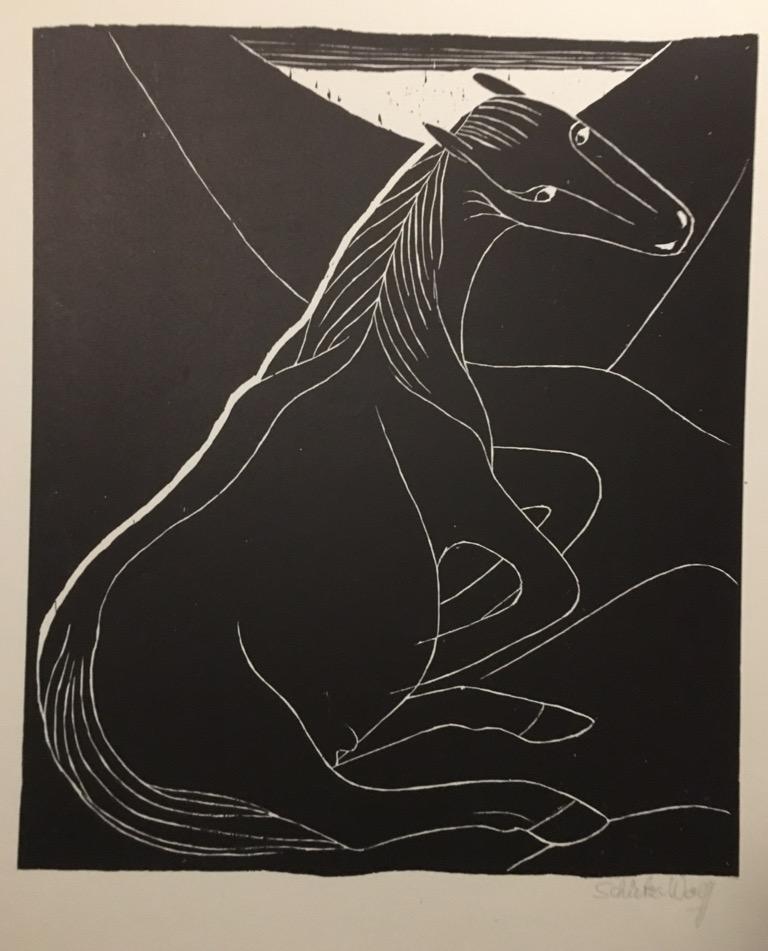 johanna sch tz wolff stute holzschnitt 1959 handsigniert ebay. Black Bedroom Furniture Sets. Home Design Ideas